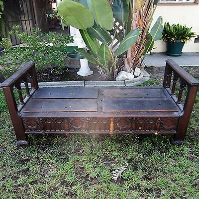 17th C. HAND CARVED SOLID WOOD BED Twin Single Settle Spanish YGGDRASIL Antique
