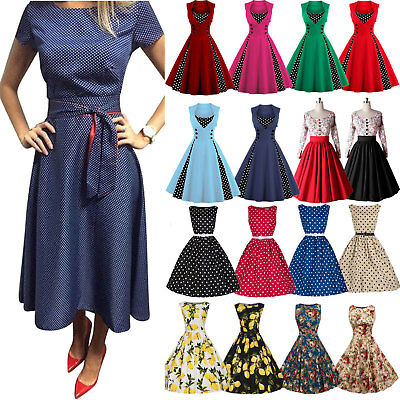 Womens 50s 60s Vintage Rockabilly Pinup Swing Floral Party Evening Casual Dress