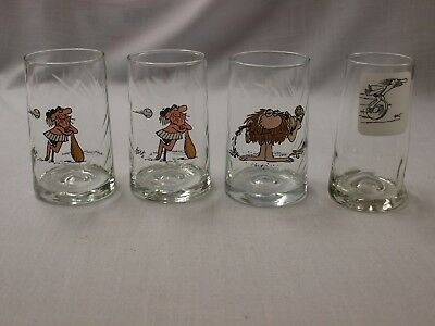 Arby's BC Comic Glasses lot 4 glasses, Thor w/wheel, Johnny Hart, B.C.