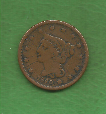 1840 Braided Hair, Large Cent, Small Date - 179 Years Old!!!