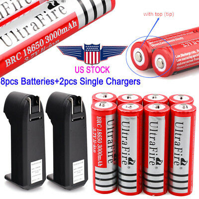 4/8 3000mAh 18650 Battery 3.7v Li-ion Rechargeable Batteries For Torch + Charger