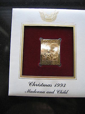 Madonna and Child 1993 replica 22 kt Gold Stamp FDI FDC Golden Cover
