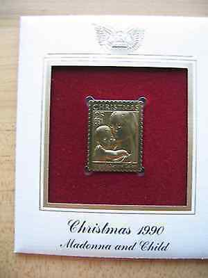 1990 Christmas Madonna and Child replica 22 kt Gold Stamp FDI FDC Golden