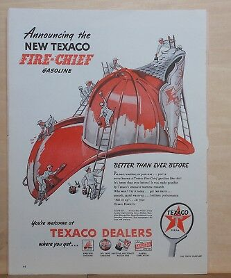 1946 magazine ad for Texaco - Fire Chief, little men paint giant fireman's hat