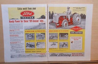1948 two page  magazine ad for Ford Tractors - Handy Power with Dearborn Equip.