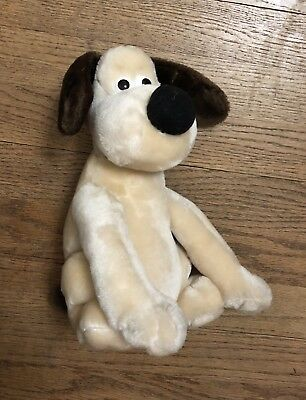 Vintage Wallace & Gromit Stuffed Plush Dog 1989 UK Cartoon Toy Animal Doll Sit
