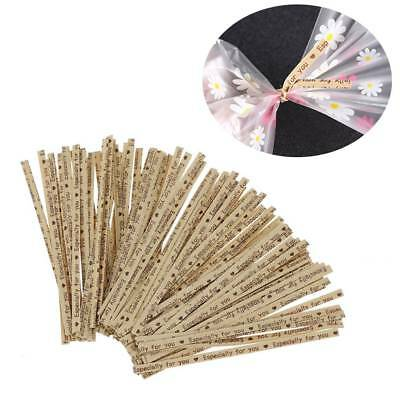 100Pcs Party Wedding Twist Ties For Bakery Cookie Candy Bag Letters Pattern Ties