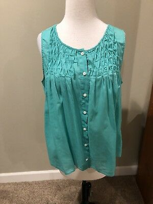 130d4c74db456 J CREW Summer Shirt Sleeveless Button front Turquoise Women s size 12