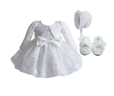 Baby Ivory Lace Christening Party Dress Bonnet Jacket Shoes 0 3 6 9 12 Months