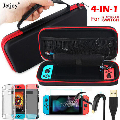 4in1 Carrying Case Bag+Shell Cover+Glass Film+Charging Cable for Nintendo Switch