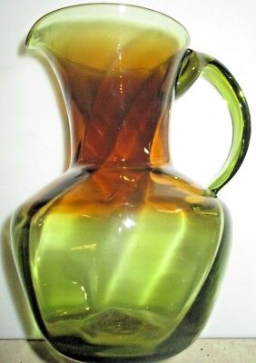 Vintage HAND BLOWN GLASS PITCHER in OLIVE AMBER Semi Smooth Open Pontil