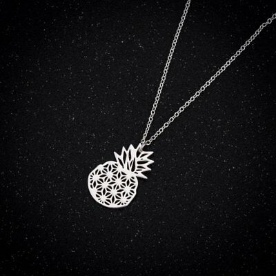 Cute Hollow Stainless Steel Bird Pineapple Necklace Pendant Women Charm Jewelry