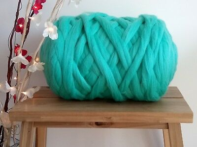 Dark Mint* 100% Merino Wool Roving Jumbo Yarn Extreme Arm Knitting 100 g - 1 kg
