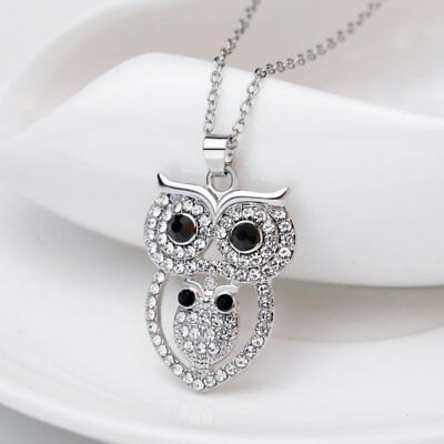 Lovely Crystal Owl Animal Pendant Necklace Womens Children Charm Jewelry Gift