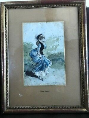 Henry Some French Watercolor mid 19th century Paris