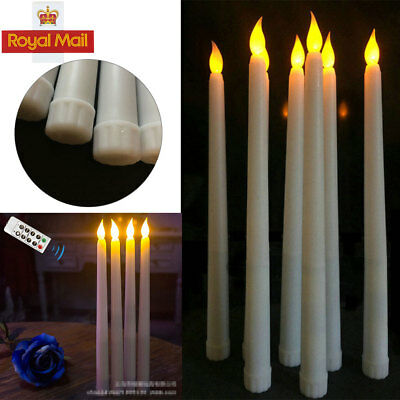 4X battery operated flameless led taper candle lamps candlestick remote control