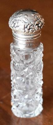 Lovely Antique Ornate Sterling Silver Topped Faceted Pattern Glass Purse Perfume