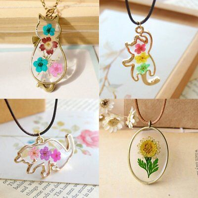 New Natural Real Dried Flower Glass Pendant Necklace Women Girl Lucky Jewelry