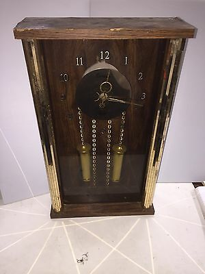 CENTURION QUARTZ CLOCK Vintage Wood Working Wall Or Mantle Desk Lunar Gold