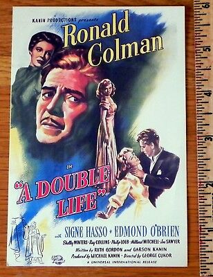 """Lobby Card / movie """" A Double Life"""" Ronald Colman, Signe Hasso M2"""