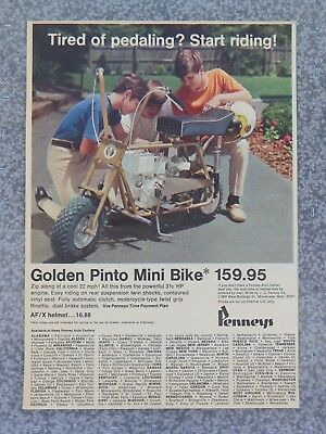 Vintage 1970 Penneys Golden Pinto Motorized 3 1/2 Hp Mini Bike Advertisement