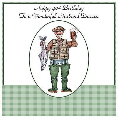 Mens Male Handmade Personalised Birthday Card Beer Funny Fishing Angeler Any Age