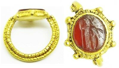 2nd century A.D. Substantial Roman Gold Military Intaglio Ring of Minerva size 7