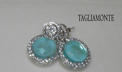 TAGLIAMONTE(943)Post Dangle Earrings*RhPl/925*LtAqua Venetian Intaglio+Topaz+MOP