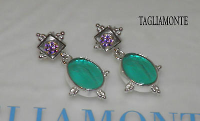 TAGLIAMONTE(1025)Post Dangle Earrings*RhP+GP925*VENUS Laguna V.Intaglio+Amethyst
