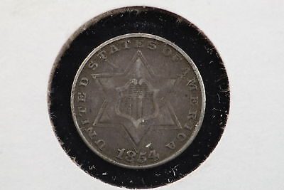 1854 3 Cent Silver Trime VF+ 80S3
