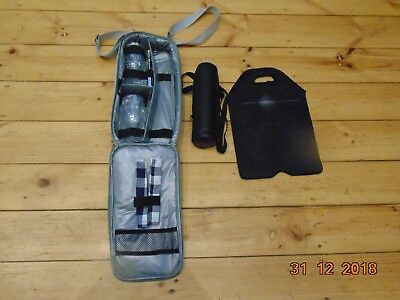 3 Wine Bottle Carrier Picnic Thermos Flask Glasses