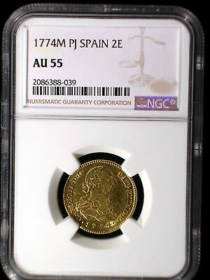 Kingdom of Spain 1774 M PJ Gold 2 Escudos *NGC AU-55* Doubloon Only 12 Known