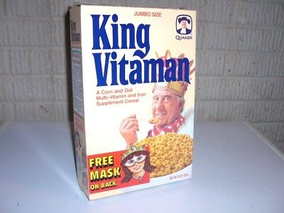 Vintage 1988 KING VITAMAN with mask Cereal Box Quaker Oats