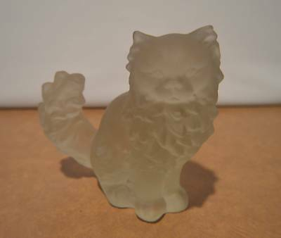 RARE Goebel Germany Frosted Crystal Glass Cat Figurine