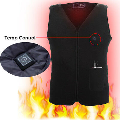 9-12V 5in1 Electric USB Heating Pads Thermal Vest Jacket Warm Winter 3 Temp AU