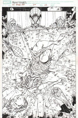 Sensational Spiderman #24 Original Angel Medina Art Splash Page Black Cat Lizard
