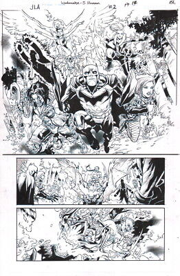 BL JLA Justice League Original Art Splash Page Batman Black Widow Lobo Vixen