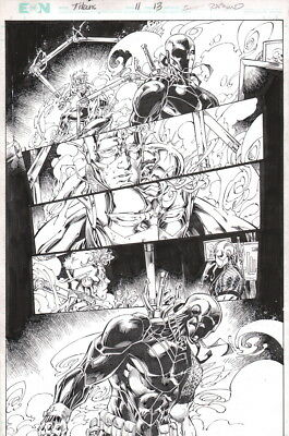 Teen Titans 11 Original Brett Booth Art Splash Page Deathstroke Slade Kid Flash