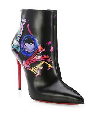 50c7a30b26c Christian Louboutin BOOT IN LOVE 100 Leather Ankle Booties Heels Black  1245