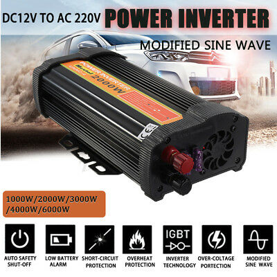 6000W Pro Car Power Inverter Modified Sine Wave DC 12V To AC 110V/220V Converter