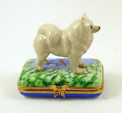 New Hand Painted French Limoges Box Samoyed Dog Puppy In Lily Of Valley Field