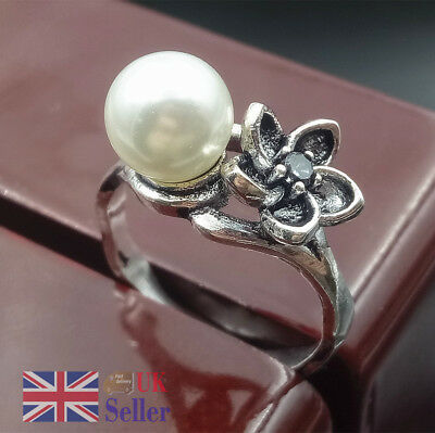 Ring Imitation Pearls Sliver Plated Flower Vintage Luxury Jewelry Exquisite