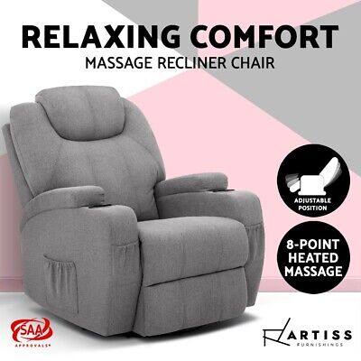 Artiss Electric Recliner Chair Fabric Sofa Heated Massage Chairs Lounge Armchair