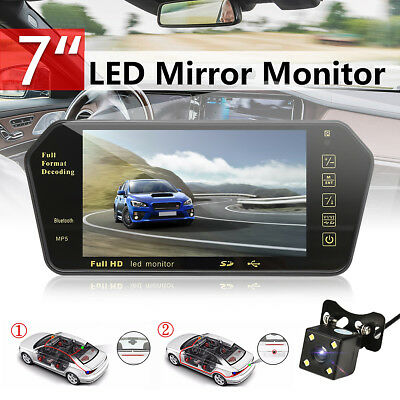 7'' HD LCD MP5 bluetooth Car Rear View Parking Mirror Monitor Reversing Camera