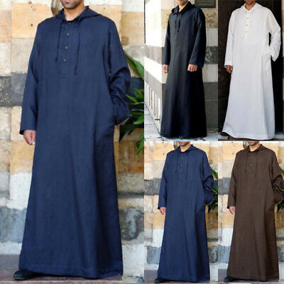 Men Long Maxi Muslim Clothing Dress Shirts Hoodies Arab Thobe Jubba Kaftan Robes