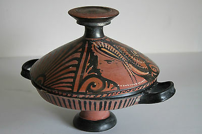 LARGE ANCIENT GREEK POTTERY RED FIGURE LEKANNIS 4th CENTURY BC