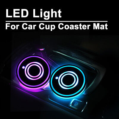 2x LED Car Cup Holder Lights Colorful Pad Mat For Auto Interior Atmosphere Decor