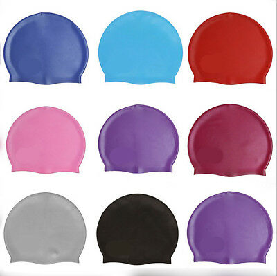 Adult Swimming Hat Silicone Elastic Flexible Durable Ladies Gents Swim Cap UK