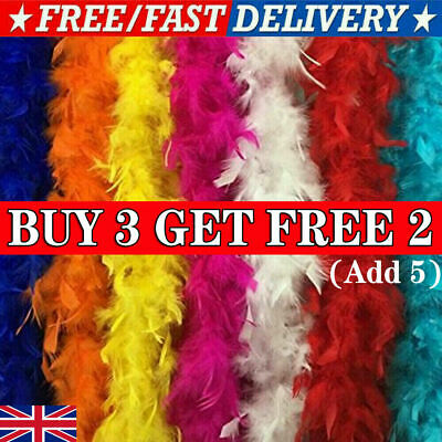 Luxury Feather Boa Dance Burlesque Fancy Dress UK 2.0M Long 8 Colors UK