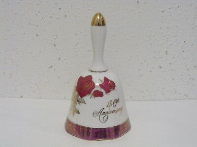 Norcrest fine china Japan porcelain bell 40th Anniversary roses gold trim ~F